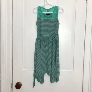 Girls Grey and Teal Striped Summer Tank Top Dress